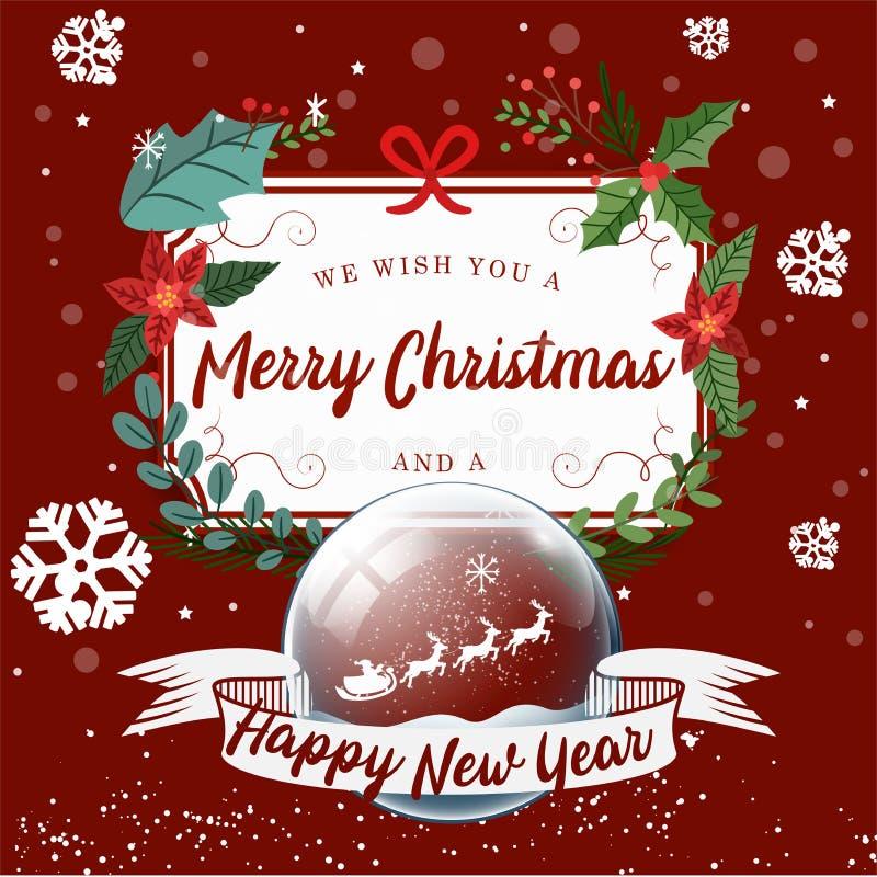 Wesoło boże narodzenia, Szczęśliwy nowego roku tło, Drzewny rex i prezent, ilustracji