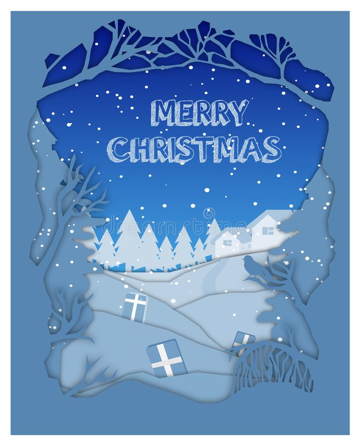 Wesoło boże narodzenia, Szczęśliwy nowy rok, choinka i płatek śniegu, royalty ilustracja