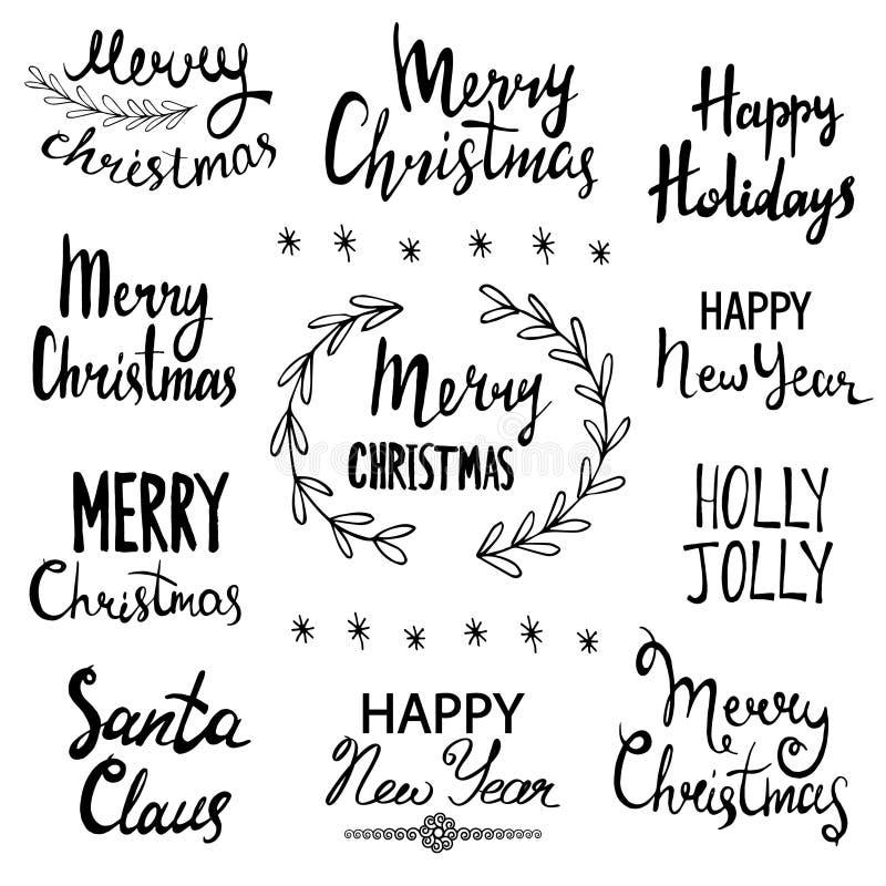 Wesoło boże narodzenia, Szczęśliwy nowy rok, wakacje, Uświęcony Byczy, Święty Mikołaj Ręka Rysujący literowanie projekta set ilustracja wektor