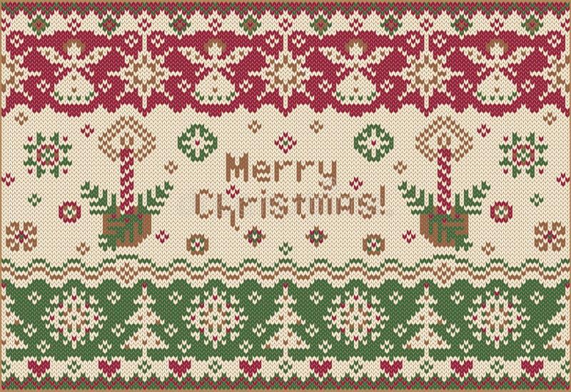 Wesoło Boże Narodzenia! Trykotowy styl ilustracja wektor