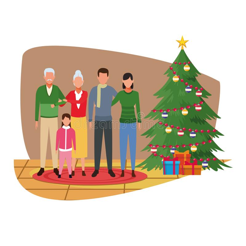Wesoło boże narodzenia w rodzinie ilustracja wektor