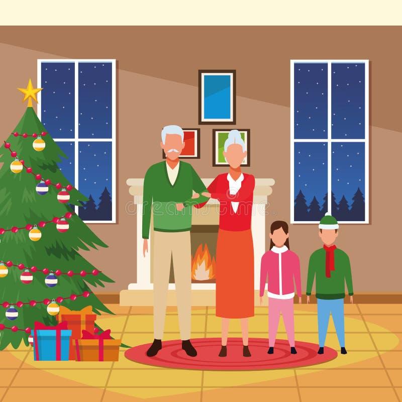 Wesoło boże narodzenia w rodzinie royalty ilustracja
