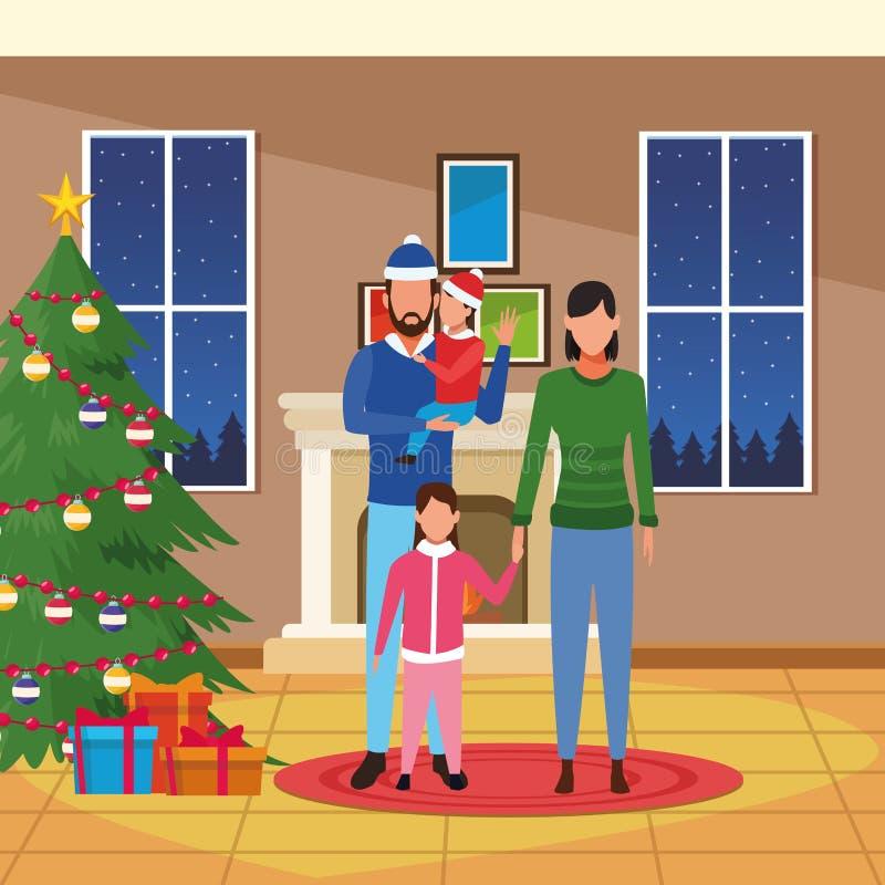 Wesoło boże narodzenia w rodzinie ilustracji