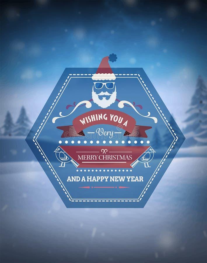 Wesoło boże narodzenia wektorowi przeciw śnieżnej scenie ilustracja wektor