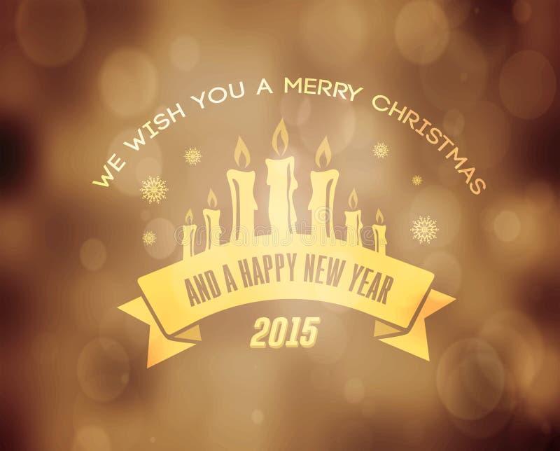 Wesoło boże narodzenia wektorowi w złocie z świeczkami ilustracji