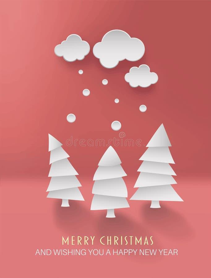 Wesoło boże narodzenia wektorowi z ślicznymi jedlinowymi drzewami ilustracja wektor