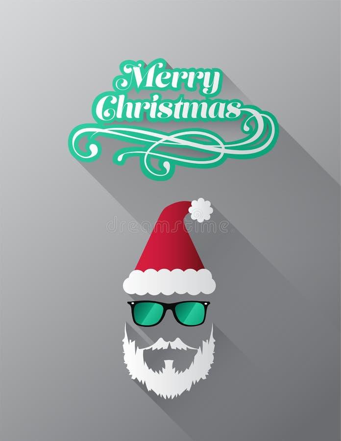 Wesoło boże narodzenia wektorowi z modnisiem Santa ilustracja wektor