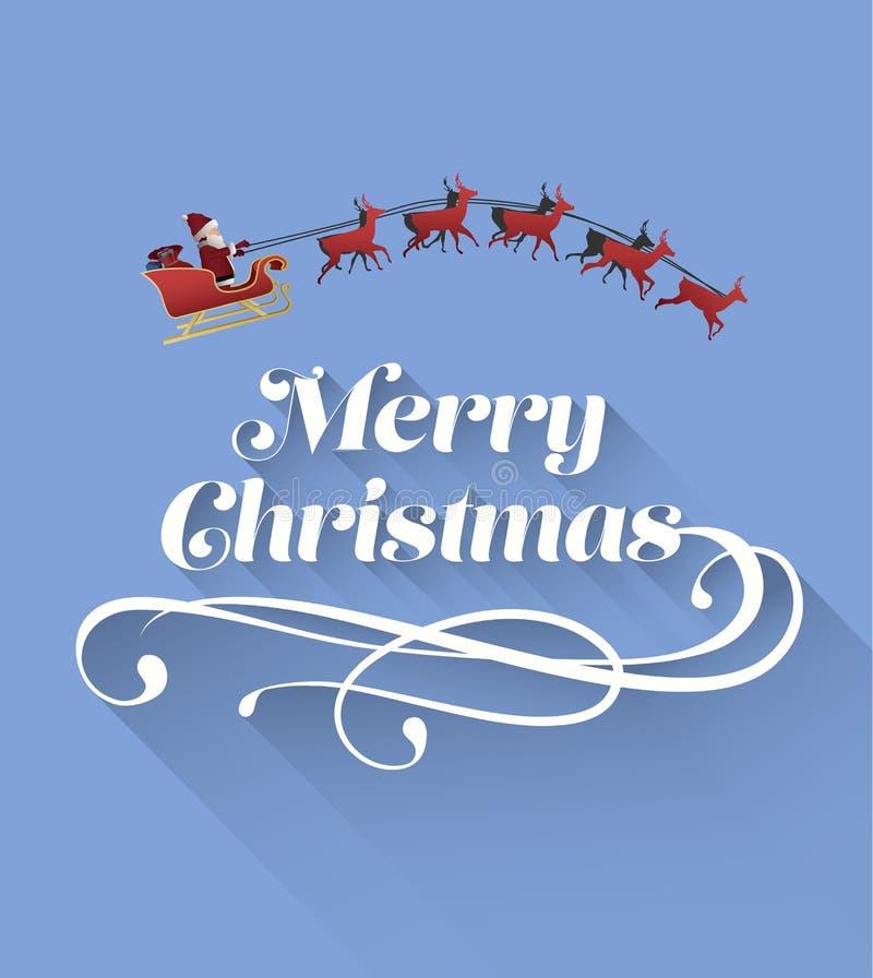 Wesoło boże narodzenia wektorowi z Santa i reniferem royalty ilustracja