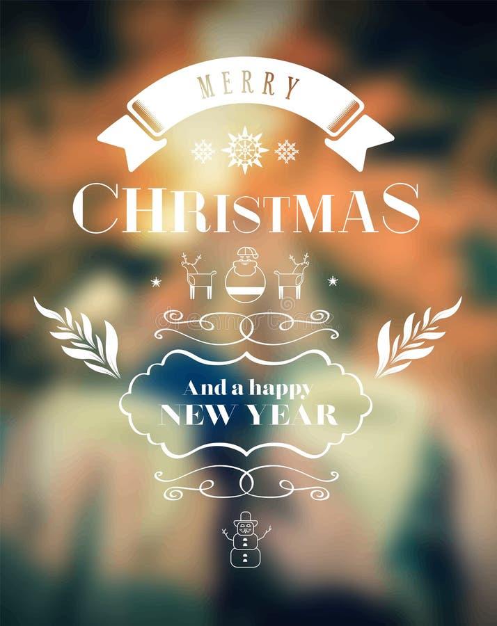 Wesoło boże narodzenia wektorowi z tekstem i ikonami ilustracji