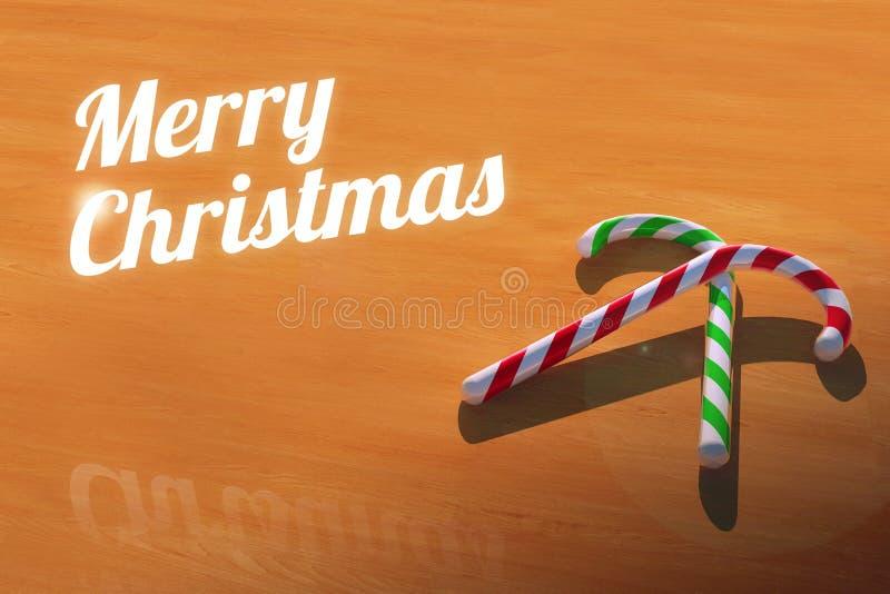 Wesoło boże narodzenia z cukierek trzcinami na Drewnianym Stołowym kartka z pozdrowieniami ilustracji
