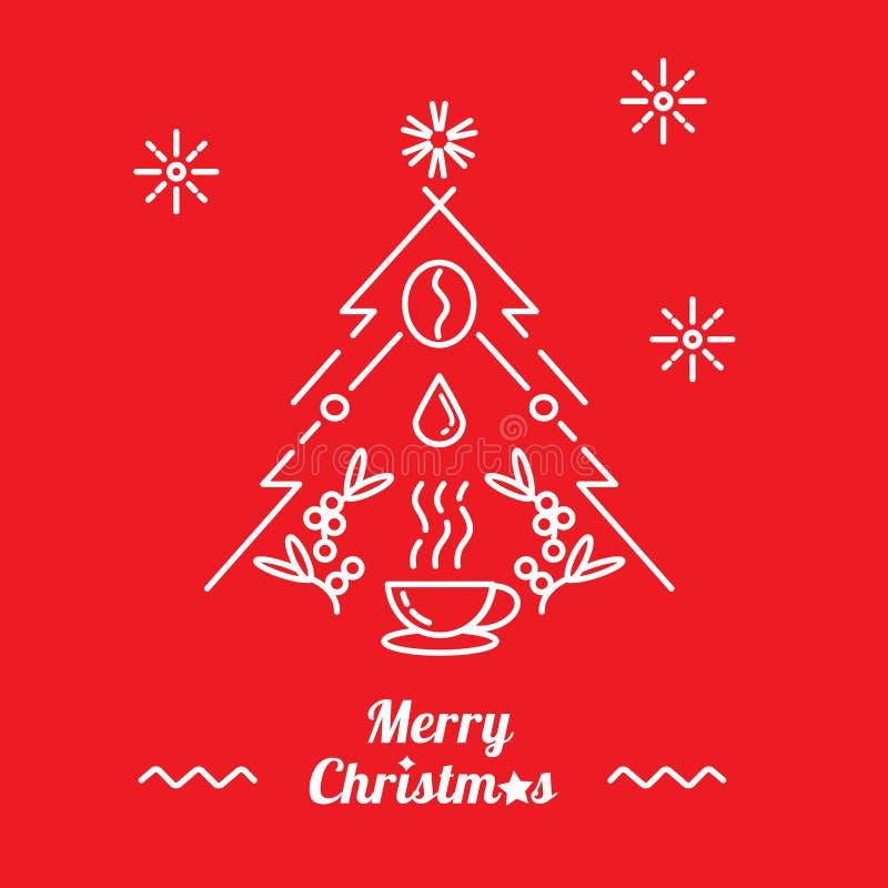 Wesoło boże narodzenia z filiżanką gorąca kawowa ilustracja royalty ilustracja