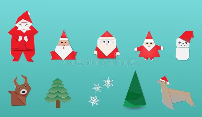 Wesoło boże narodzenia z Japońskim origami ilustracja wektor