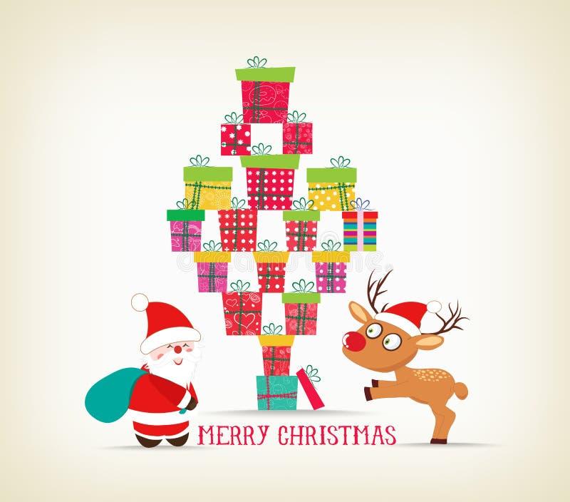 Wesoło boże narodzenia z prezentami, rogaczem i Santa Claus kartą, ilustracja wektor