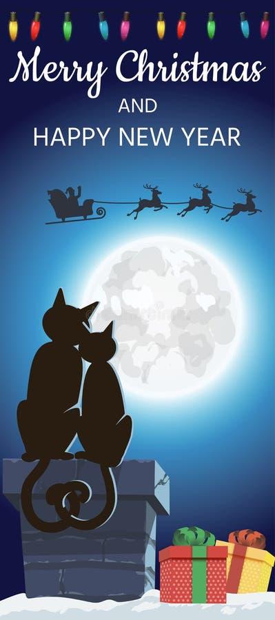 Wesoło boże narodzenia z Santa sylwetką na księżyc w snowing zimy nocy i kilka enamored koty, wektor royalty ilustracja
