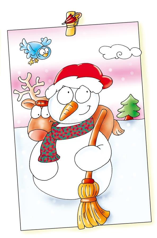 Wesoło boże narodzenia, zrobili bałwanu, ono uśmiecha się, ja śniegi łoś przychodzi out ilustracja wektor