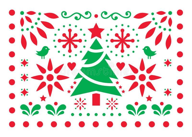 Wesoło bożego narodzenia Papel Picado wektorowy projekt, dekoracja wzór, Meksykański Xmas kartki z pozdrowieniami, czerwieni i bi royalty ilustracja