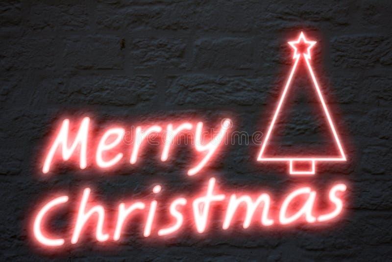 wesoło bożonarodzeniowe światła neon ilustracji