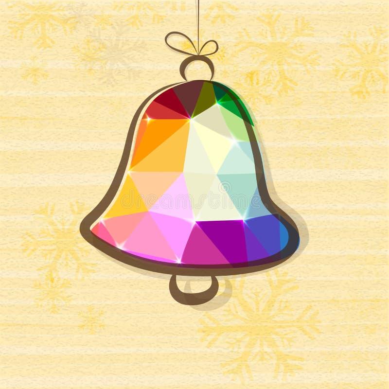 Wesoło bożych narodzeń świętowanie z Jingle Bell ilustracja wektor