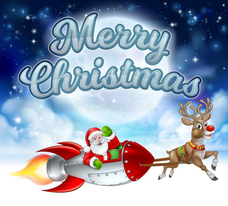 Wesoło bożych narodzeń Święty Mikołaj rakiety sanie ilustracja wektor