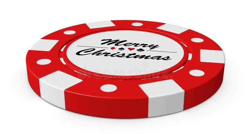 Wesoło bożych narodzeń czerwony kasynowy układ scalony ilustracja wektor