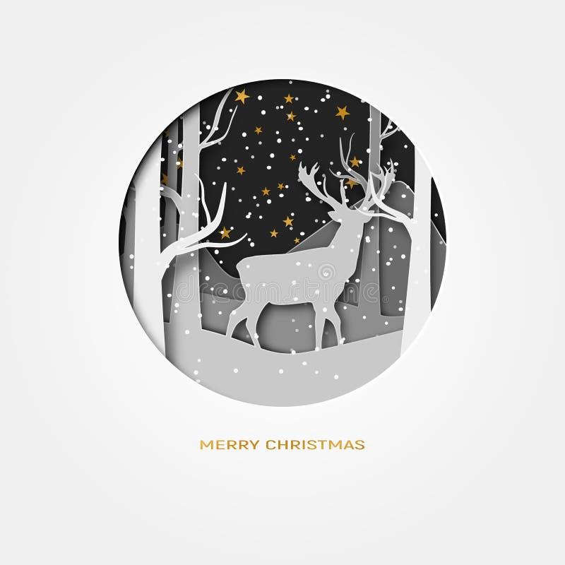 Wesoło bożych narodzeń 3d abstrakta papieru rżnięta ilustracja rogacz w lasowym śniegu Księżyc i gwiazdy w nocy wektor ilustracja wektor