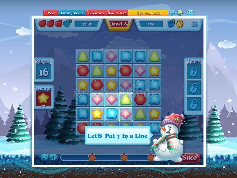 Wesoło bożych narodzeń GUI gra komputerowa - stawia 3 w linii - ilustracji