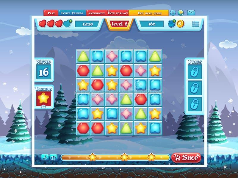 Wesoło bożych narodzeń GUI - plac zabaw dla gry komputerowej ilustracja wektor