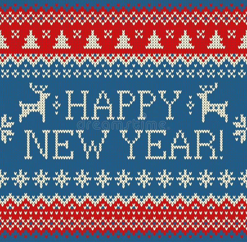 Wesoło bożych narodzeń i nowego roku bezszwowy trykotowy wzór z pisać list, ilustracji