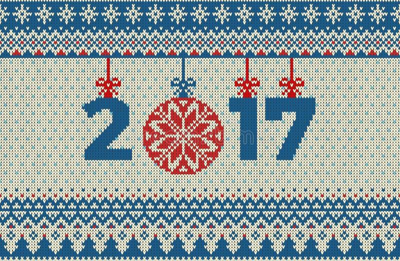 Wesoło bożych narodzeń i nowego roku bezszwowy trykotowy wzór z, Skandynawa styl royalty ilustracja