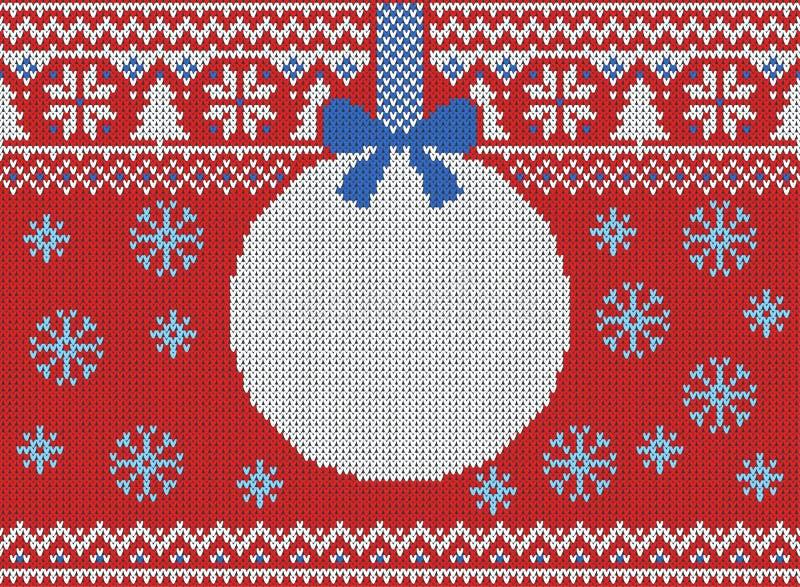 Wesoło bożych narodzeń i nowego roku bezszwowy trykotowy wzór z, Skandynawa styl ilustracja wektor