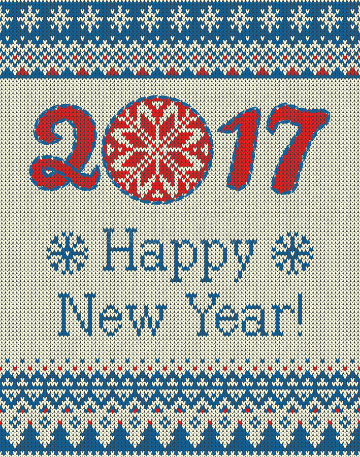 Wesoło bożych narodzeń i nowego roku bezszwowy trykotowy wzór z, Skandynawa styl ilustracji