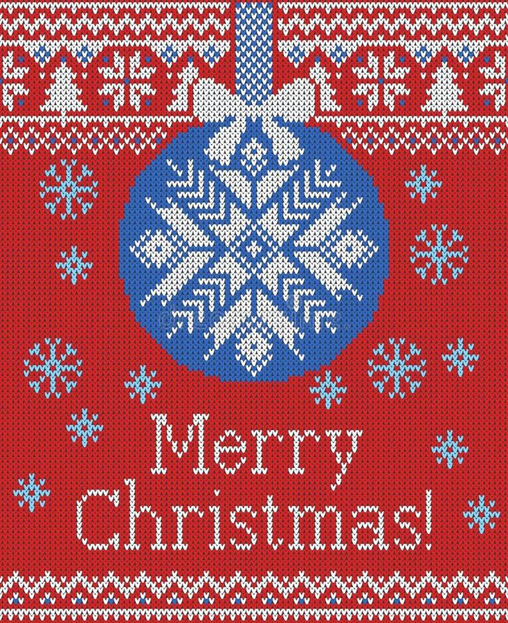 Wesoło bożych narodzeń i nowego roku bezszwowy trykotowy wzór z, Skandynawa styl Zima wakacje ilustracji