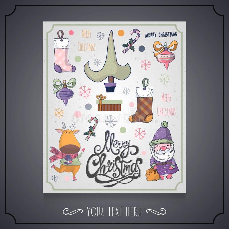 Wesoło bożych narodzeń i nowego roku karta z charakterem Santa, Christm royalty ilustracja