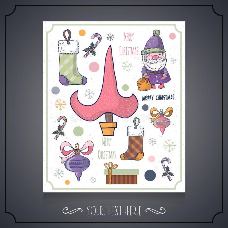 Wesoło bożych narodzeń i nowego roku karta z charakterem Santa, Christm ilustracja wektor