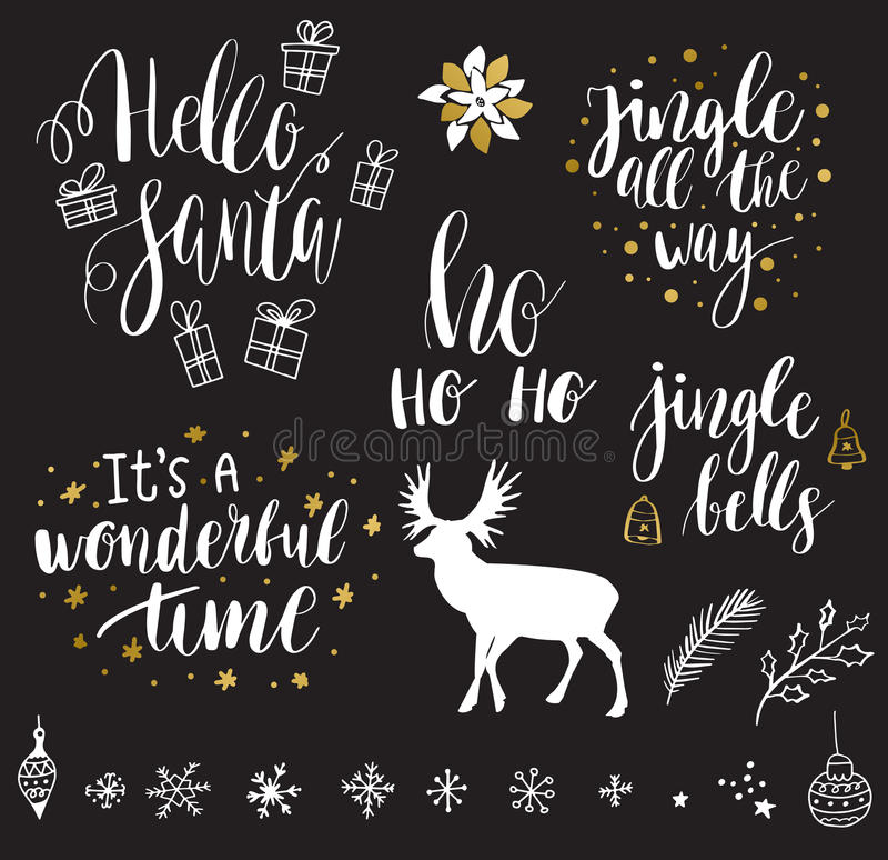 Wesoło bożych narodzeń i nowego roku literowania kolekcja royalty ilustracja