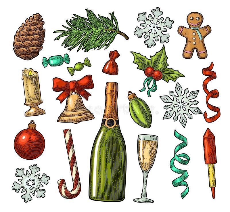 Wesoło bożych narodzeń i nowego roku set Wektorowy rocznika koloru rytownictwo ilustracja wektor