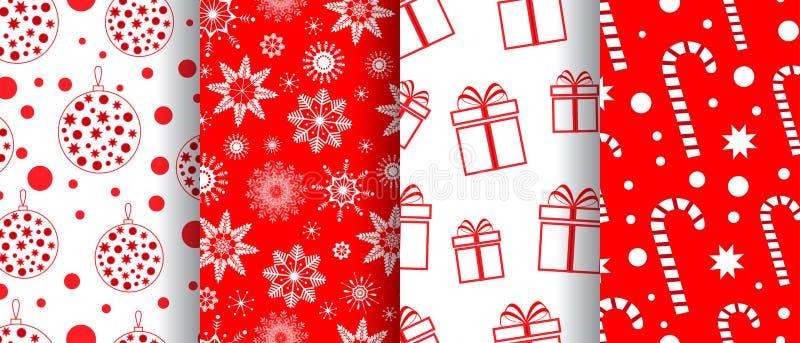 Wesoło bożych narodzeń i Szczęśliwego nowego roku bezszwowa deseniowa kolekcja Tła z wakacyjnymi symbolami: cukierki, boże narodz royalty ilustracja