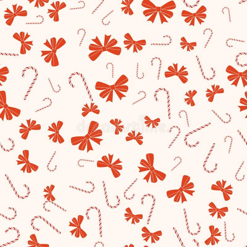 Wesoło bożych narodzeń i Szczęśliwego nowego roku bezszwowy retro wzór Z cukierek trzcinami, łęków faborki Wektorowa kolekcja ilustracji