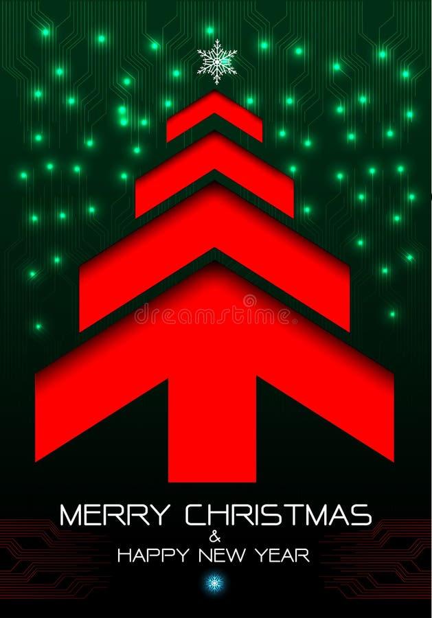 Wesoło bożych narodzeń i Szczęśliwego nowego roku czerwony strzałkowaty drzewo na zielonego curcuit energetycznej technologii lek ilustracji