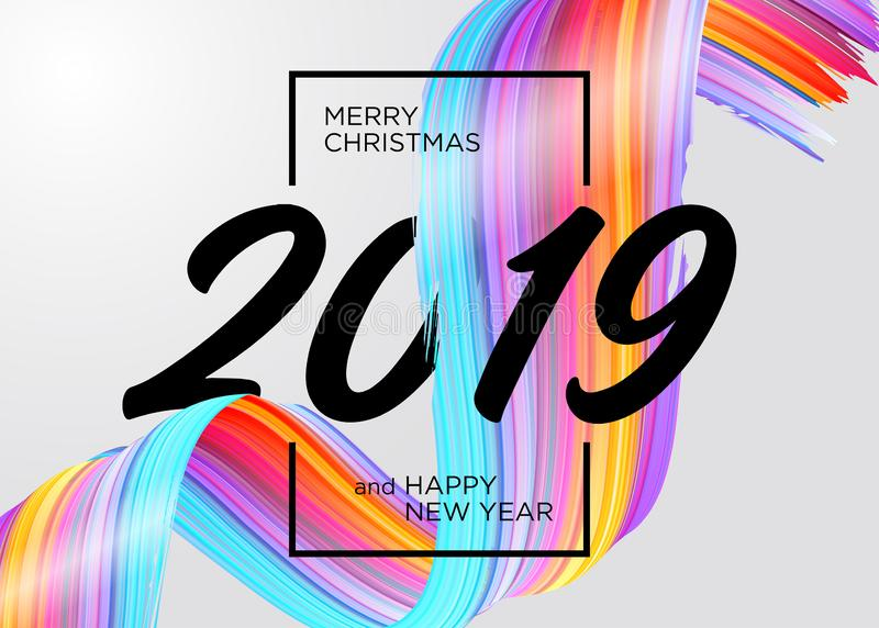 2019 Wesoło bożych narodzeń i Szczęśliwego nowego roku Karcianego projekt royalty ilustracja