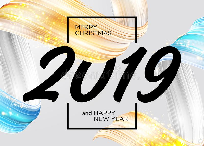 2019 Wesoło bożych narodzeń i Szczęśliwego nowego roku Karcianego projekt ilustracja wektor