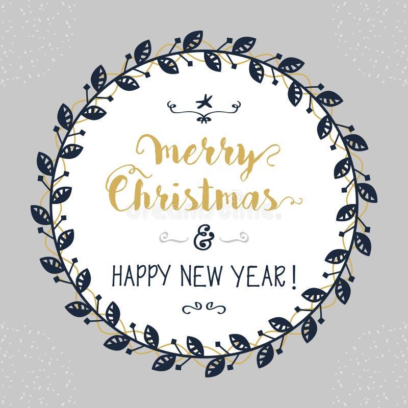 Wesoło bożych narodzeń i Szczęśliwego nowego roku okręgu kwiecisty emblemat ilustracja wektor
