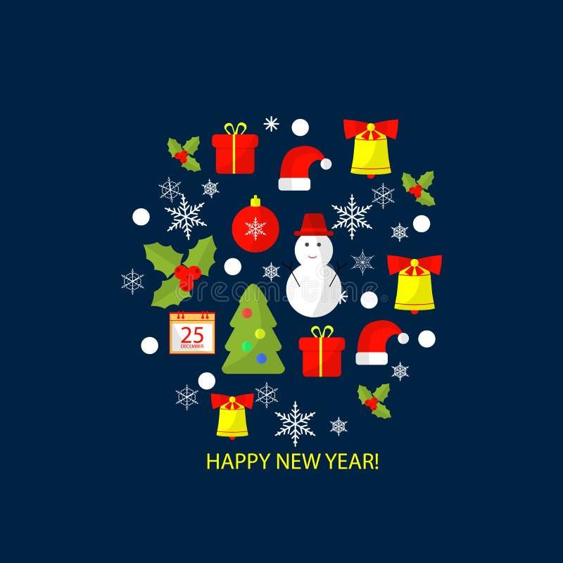 Wesoło bożych narodzeń i Szczęśliwego nowego roku projekta płaski tło dla kartka z pozdrowieniami, zaproszenie, plakat, ulotka royalty ilustracja