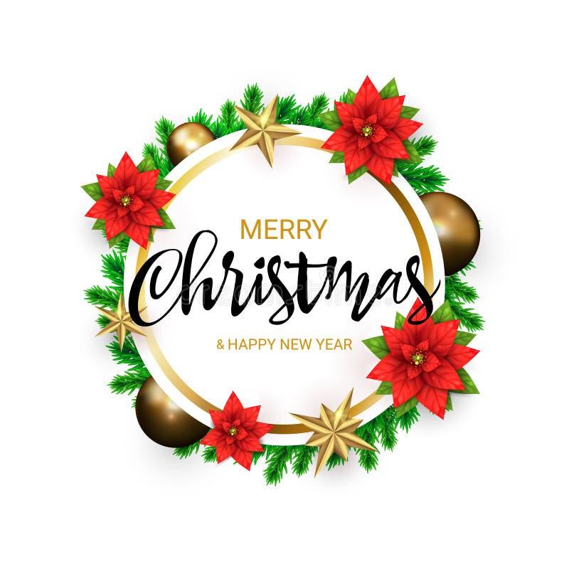 2019 Wesoło bożych narodzeń i Szczęśliwego nowego roku round sztandar z wiankiem zielone sosen gałąź i Złote gwiazdy, poinsecja royalty ilustracja