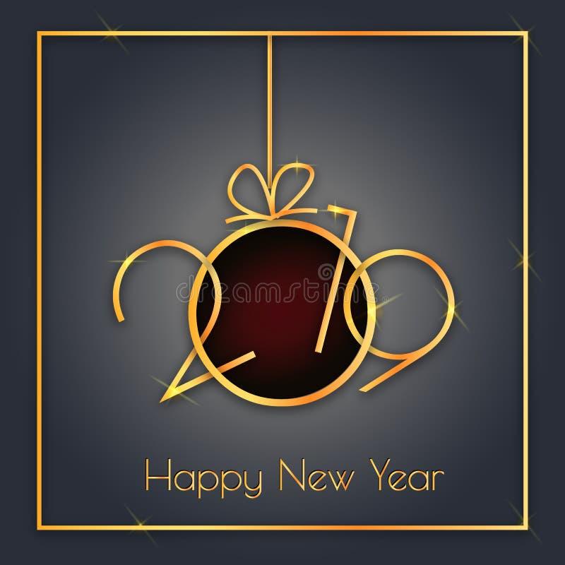 2019 Wesoło bożych narodzeń i Szczęśliwego nowego roku tło royalty ilustracja