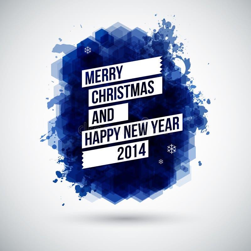 Wesoło bożych narodzeń i Szczęśliwego nowego roku typograficzny nagłówek. ilustracja wektor