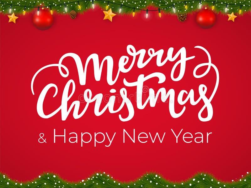 Wesoło bożych narodzeń i Szczęśliwego nowego roku typographical pocztówka na czerwonym Xmas tle z świąteczną wakacyjną girlandą ilustracji