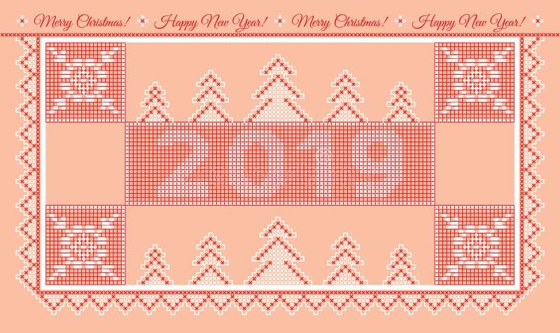 2019 Wesoło bożych narodzeń i Szczęśliwej nowy rok powitań karta ilustracja wektor