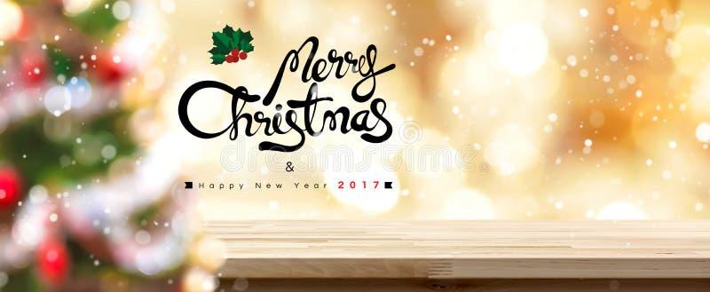 Wesoło bożych narodzeń i Szczęśliwi 2017 nowego roku sztandaru stołowy odgórny panoramiczny tło obrazy royalty free