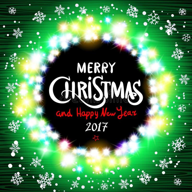 Wesoło bożych narodzeń i Szczęśliwy 2017 nowego roku realistyczne ultra zielone kolorowe lekkie girlandy jak round rama na przejr royalty ilustracja